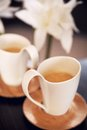 Two lovely cups of cappuccino Stock Photos
