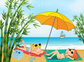Two lovely girls relaxing at the beach illustration of Royalty Free Stock Photo