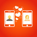 Two lovers communicatitng with the mobile phones Royalty Free Stock Images