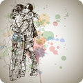 Two lovers kissing & floral calligraphy Royalty Free Stock Photo