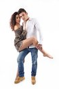 Two lovers standing interacting showing affection Royalty Free Stock Image