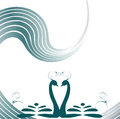 Two lovers swan romantic background Royalty Free Stock Image