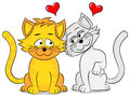 Two loving cats vector illustration of Stock Images