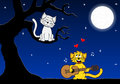 Two loving cats vector illustration of singing love songs Royalty Free Stock Images