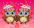 Two loving owls, a pair, touch their wings, on a purple background. Concept Two hearts. The inscription I love you