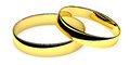 Two lying golden wedding rings Stock Image