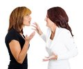 Two mad angry women arguing Stock Images