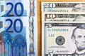 Two major currencies twenty euros and thirty five u s dollars Royalty Free Stock Image