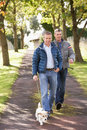 Two Male Friends Walking Dog Outdoors Royalty Free Stock Photography