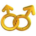 Two male symbols crossed representing gay relation Royalty Free Stock Photos