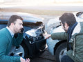 Two man arguing after a car accident Royalty Free Stock Photo