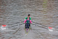 Two Man Crew Rowing Hard Royalty Free Stock Photos