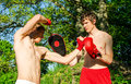 Two man training Muay thai Royalty Free Stock Photography