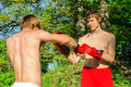 Two man training Muay thai Royalty Free Stock Photo