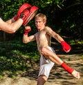 Two man training Muay thai Royalty Free Stock Photo