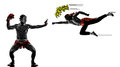 Two mangas video games martials arts fighters fighting Royalty Free Stock Photo