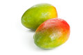 Two mangoes over white background fresh ripe organic Stock Images