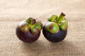 Two mangosteen the on textured brown cloth Royalty Free Stock Photos