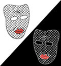 Two masks on white and black background. White and black masks. Fancy masks. Unusual masks. Masks with pattern in the