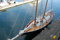 Two masted schooner docked from above Royalty Free Stock Photo