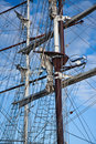 Two masts with rigging of big sailing vessels Royalty Free Stock Photo