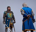 Two medieval knights standing against each other Stock Photography