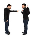 Two men accused against himself man on white background Royalty Free Stock Image