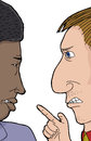 Two men arguing pair of african and caucasian angry with each other Royalty Free Stock Photo