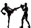 Two men exercising thai boxing silhouette caucasian in studio on white background Stock Images