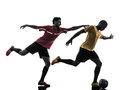 Two men soccer player standing silhouette playing football competition in on white background Stock Images