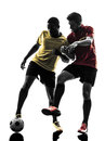Two men soccer player standing silhouette playing football competition in on white background Stock Image