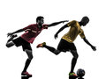 Two men soccer player standing silhouette playing football competition in on white background Royalty Free Stock Images