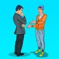 Two Men Talking. Business Meeting. Pop Art illustration