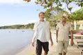 Two men walking and talking Royalty Free Stock Photo