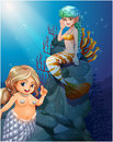 Two mermaids under the sea illustration of Stock Images