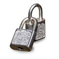 Two metal padlocks Stock Photos