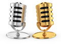 Two microphones on white d rendered image Royalty Free Stock Photography