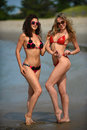 Two models posing sexy at tropical beach location Royalty Free Stock Photo