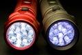 Two Modern LED Flashlights Stock Photo