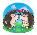 Two moles with hearts in grass Royalty Free Stock Images