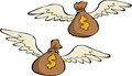 Two money bags with wings Stock Photos