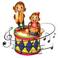 Two monkeys above a big drum illustration of the on white background Stock Photography
