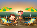 Two monkeys dancing at the wooden bridge illustration of Stock Images