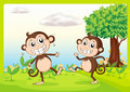 Two monkeys in nature illustration of green Royalty Free Stock Image