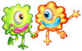 Two monsters happy of their togetherness illustration the on a white background Royalty Free Stock Images