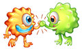 Two monsters showing teamwork illustration of the on a white background Stock Images