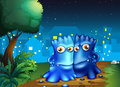 Two monsters strolling in the middle of the night illustration Stock Images