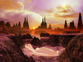 Two Moons at Twilight on Distant Planet Royalty Free Stock Photo