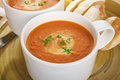 Two Mugs of Tomato Soup on a Tray Royalty Free Stock Photos