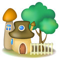 Two mushroom houses and tree fairy with light fence Royalty Free Stock Image